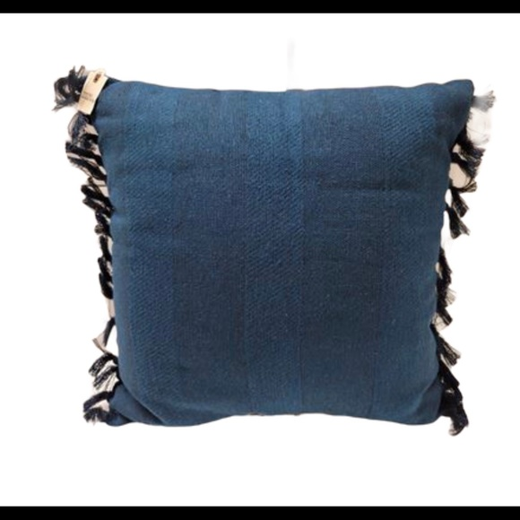 Hearth & Hand Knotted Fringe Throw Pillow Blue